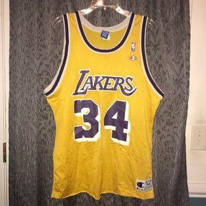 Vtg 90's LA Lakers Champion NBA Jersey Shaq O'Neal